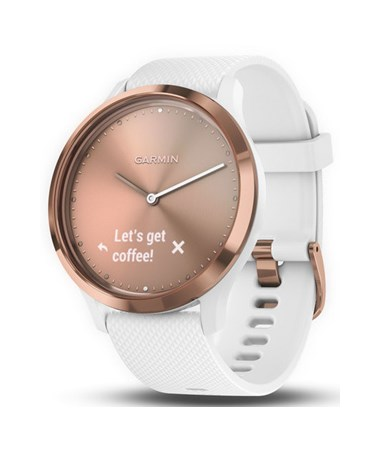 Garmin Vivomove HR Hybrid Smartwatch with Activity Tracking Sport Rose Gold w/ White Silicone Band, Small/Medium 010-01850-12