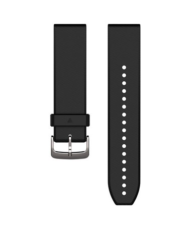 QuickFit 22 Watch Bands For Garmin GPS Watch Black/Silver Silicone 010-12500-00