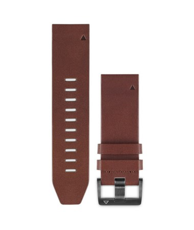 QuickFit 22 Watch Bands For Garmin GPS Watch Brown Leather 010-12496-05