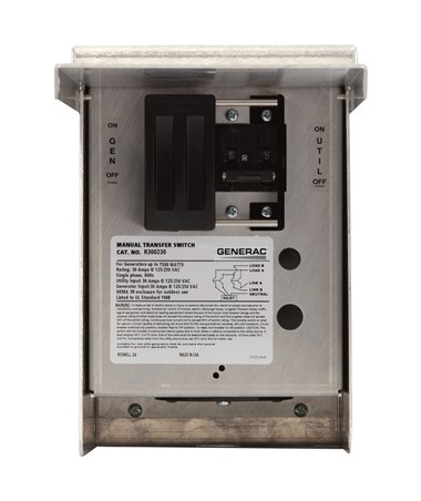 Generac 30-Amp Single-Circuit Manual Transfer Switch, 125/250V GEN6377