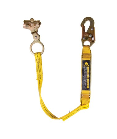 Guardian Fall Protection Rope Grab With Attached 3' Shock Absorbing Lanyard