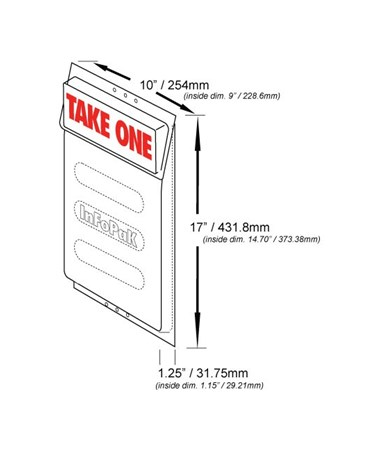 Infopak Legal 10″W x 17″H x 1.25″D Outdoor Literature Holder with Lid For Legal Size Flyers/Brochures (Qty. 20) 3500