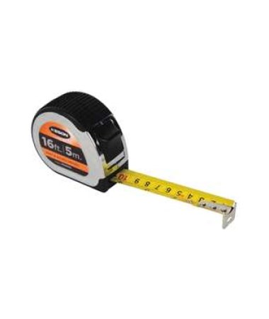 Keson 16 Feet Chrome Short Tape; Feet, Inches, 1/8, 1/16 & cm, mm with 1-inch Blade PG18M16