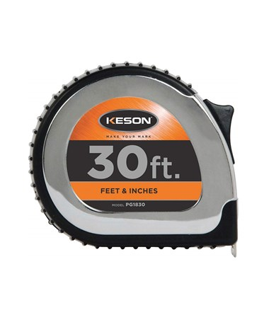 Keson 30 Feet Chrome Short Tape; Feet, Inches, 1/8, 1/16 with 1-inch Blade PG1830