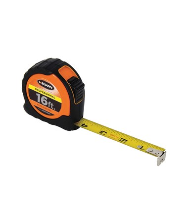 Keson 16 Feet Professional Short Tape; Feet, Inches, 1/8, 1/16 with Orange Case PGPRO1816V