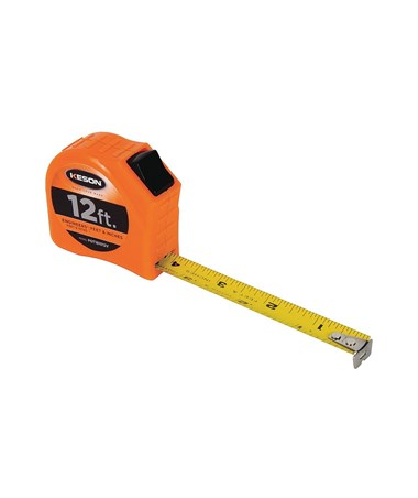 Keson 12 Feet Toggle Lock Short Tape; Feet, 1/10, 1/100 & Feet, Inches, 1/8, 1/16 with 5/8-inch Blade PGT181012V