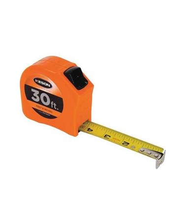 Keson 30 Feet Toggle Lock Short Tape; Feet, Inches, 1/8, 1/16 with 1-inch Blade PGT1830V
