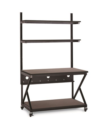 "Kendall Howard Performance 200 Series 48"" LAN Station w/ Full Bottom Shelf, African Mahogany KNH5000-3-204-48"