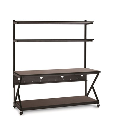 "Kendall Howard Performance 200 Series 72"" LAN Station w/ Full Bottom Shelf, African Mahogany KNH5000-3-204-72"