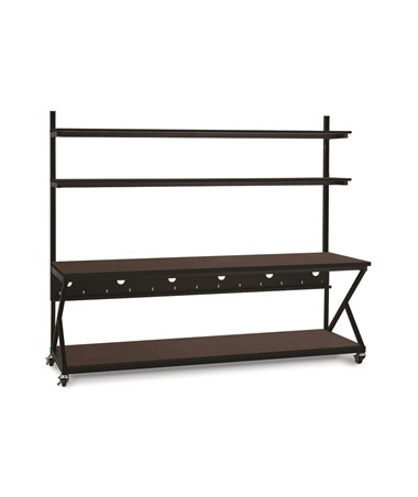 "Kendall Howard Performance 200 Series 96"" LAN Station w/ Full Bottom Shelf, African Mahogany KNH5000-3-204-96"