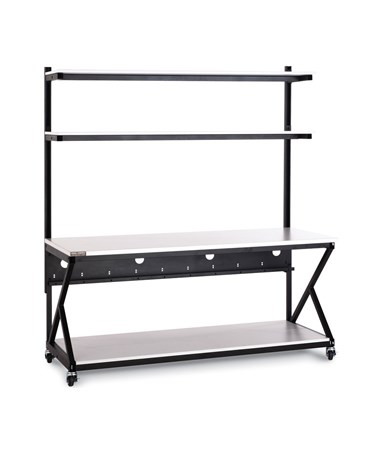 "Kendall Howard Performance 200 Series 72"" LAN Station w/ Full Bottom Shelf, Folkstone KNH5000-3-200-72"
