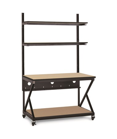 "Kendall Howard Performance 200 Series 48"" LAN Station w/ Full Bottom Shelf, Hard Rock Maple KNH5000-3-201-48"
