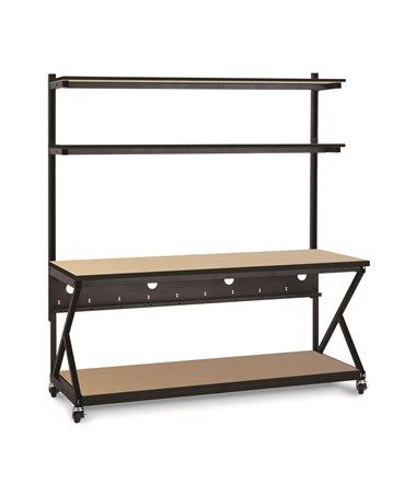 "Kendall Howard Performance 200 Series 72"" LAN Station w/ Full Bottom Shelf, Hard Rock Maple KNH5000-3-201-72"