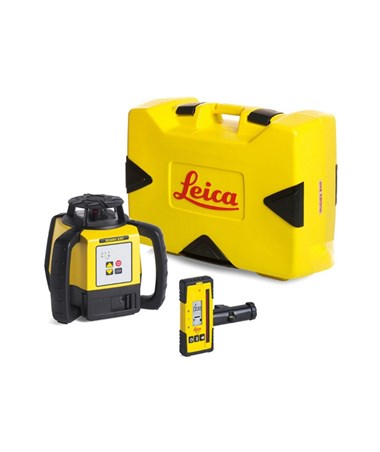 Leica Rugby 620 Rotary Laser Level With Rod Eye 120 and Alkaline Battery Pack