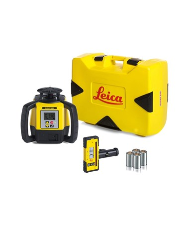 Leica Rugby 680 Dual Grade Laser Level with Rod-Eye 140 and Alkaline Battery Pack 6006007