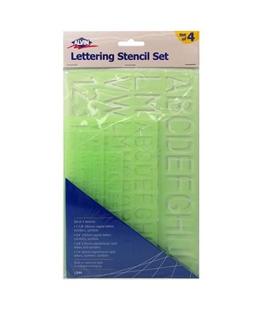 Alvin Lettering Stencil Template Set (Pack of 4) LS44