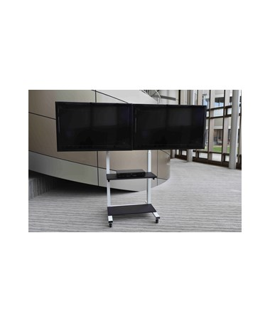 Luxor Crank Adjustable Dual Flat Panel TV Cart CLCD-DUAL