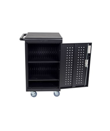 Luxor 30 Capacity Tablet Chromebook Charging Cart with Keypad Lock Front LLTM30-B-KP