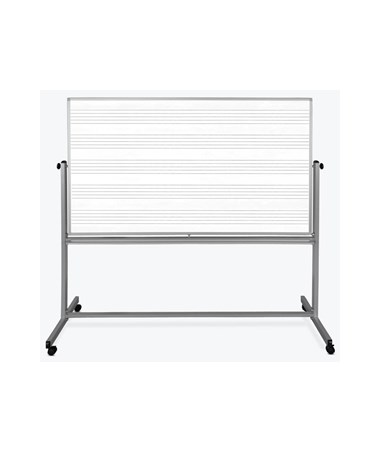 Luxor 72''W x 48''H Mobile Double-Sided Music Whiteboard LUXMB7248MM