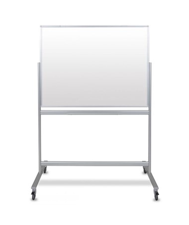 "uxor 48""W x 36""H Mobile Double-Sided Magnetic Glass Board MMGB4836"