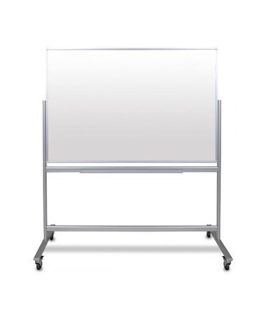 "Luxor 60""W x 40""H Mobile Double-Sided Magnetic Glass Board MMGB6040"