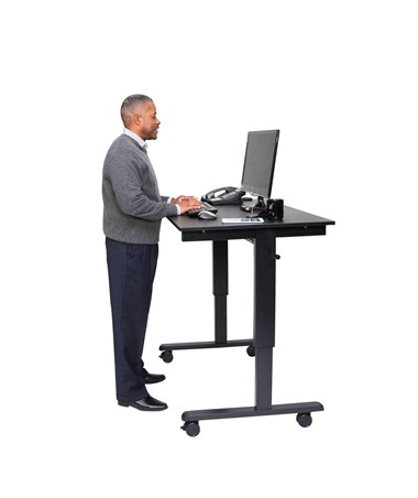 "Luxor 48"" Crank Adjustable Stand Up Desk Black Frame Black Oak Top STANDCF48-BK/BO"