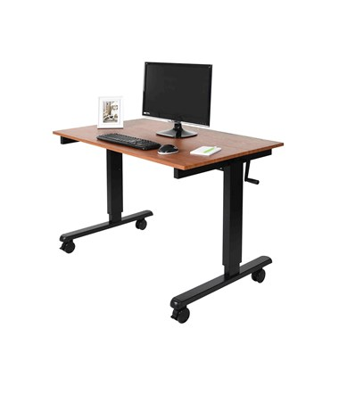 "Luxor 48"" Crank Adjustable Stand Up Desk Black Frame and Teak Top STANDCF48-BK/TK"