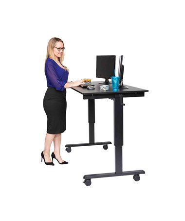 "Luxor 60"" Crank Adjustable Stand Up Desk Black Frame Black Oak Top STANDCF60-BK/BO"