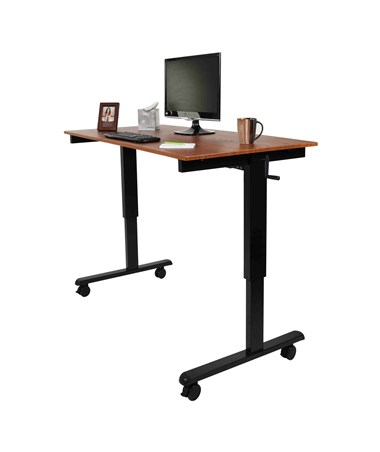"Luxor 60"" Crank Adjustable Stand Up Desk Black Frame and Teak Top STANDCF60-BK/TK"