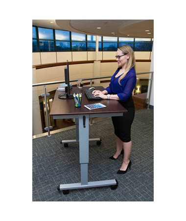 "Luxor 48"" Crank Adjustable Stand Up Desk Silver Frame Dark Walnut Top STANDUP-CF48-DW"