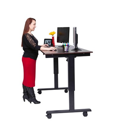 "Luxor 60"" Electric Standing Desk Black Frame and Dark Walnut Top STANDE-60-BK/DW"
