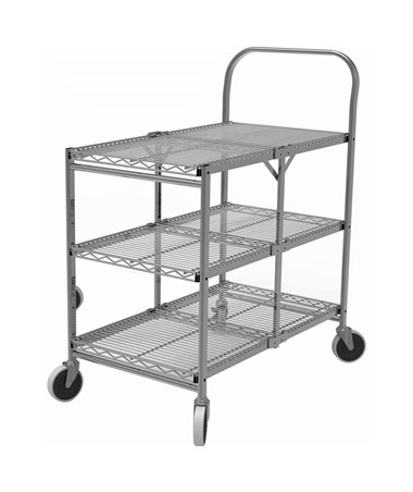 Luxor 3-Shelf Collapsible Wire Utility Cart WSCC-3