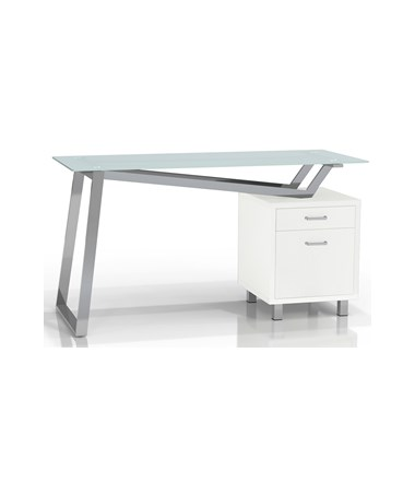 Mayline SOHO V-Desk with White Glass Top MAY1001VG