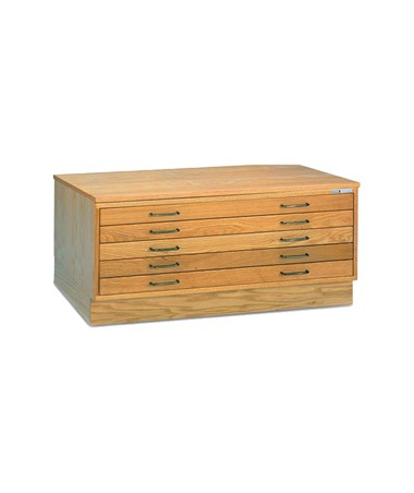 Mayline 5-Drawer Wood Plan File, Naturalist with Optional Cap and Flush Base 7717CX5
