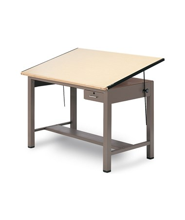 Mayline Ranger Steel Four-Post Drafting Table with Tool Drawer MAY7732A