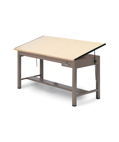 Mayline Ranger Steel Four-Post Drafting Table with Tool and Shallow Drawer MAY7734B