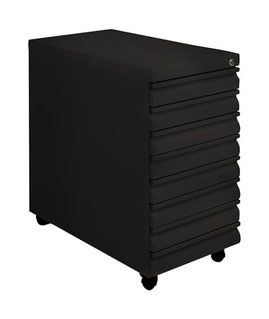 Mayline Mobile B-Size Eight-Drawer File MAY9P810 Black