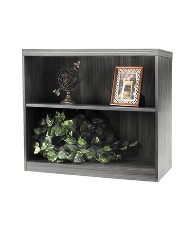 Mayline Aberdeen Series Two-Shelf 36-Inch Wide Bookcase MAYAB2S36 Gray Steel