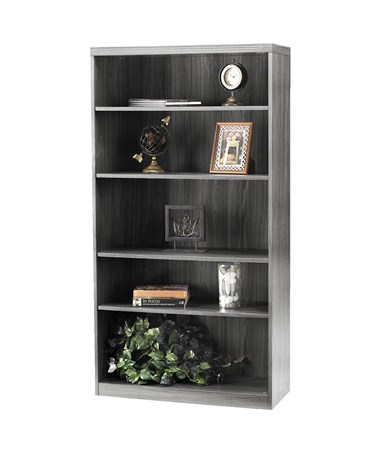 Mayline Aberdeen Series Five Shelf 36-Inch Wide Bookcase MAYAB5S36 Gray Steel