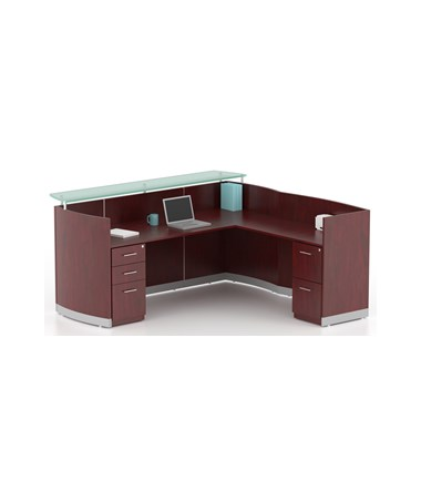 Mayline MNRSLBFLMH Mayline Medina Reception Station with Return, 2-Drawer & 3-Drawer Pedestals Mahogany