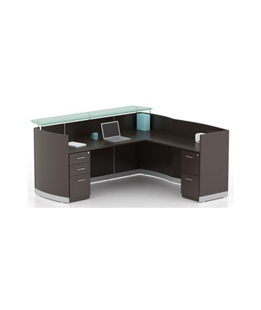 Mayline MNRSLBFLDC Mayline Medina Reception Station with Return, 2-Drawer & 3-Drawer Pedestals Mocha