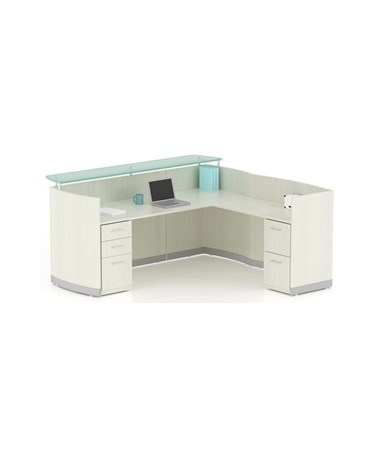 Mayline MNRSLBFTSS Mayline Medina Reception Station with Return, 2-Drawer & 3-Drawer Pedestals Textured Sea Salt