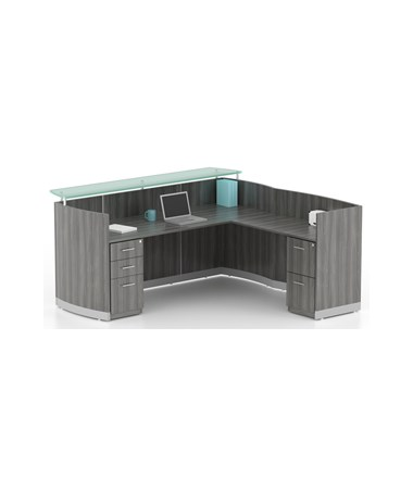 Mayline Medina Series Reception Station with Return and Pedestals MAYMNRSLBFLGS-