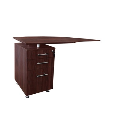 Mayline Medina Left Curved Desk Return Mahogany MNRTPLLMH