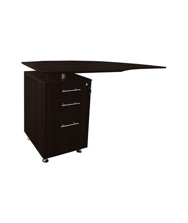 Mayline Medina Left Curved Desk Return Mocha MNRTPLLDC