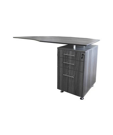 Mayline Medina Right Curved Desk Return Gray Steel MNRTPRLGS