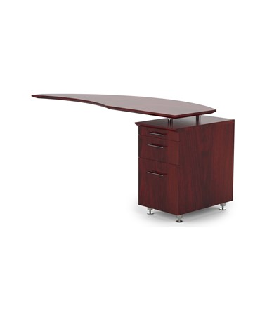 Mayline Medina Right Curved Desk Return Mahogany MNRTPRLMH