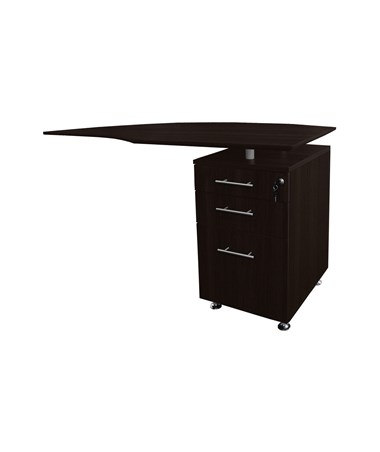 Mayline Medina Right Curved Desk Return Mocha MNRTPRLDC
