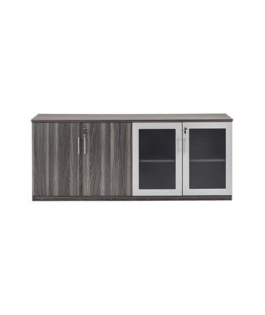 Mayline Medina Series Low Wall Cabinet with Glass and Wood Doors MAYMVLCLGS-