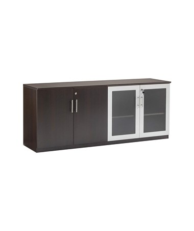 Mayline Medina Low Wall Cabinet with Glass and Wood Doors Mocha MVLCLDC